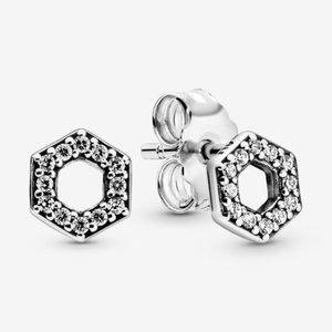 🥂Pandora Sparkling Honeycomb Hexagon Stud Earring